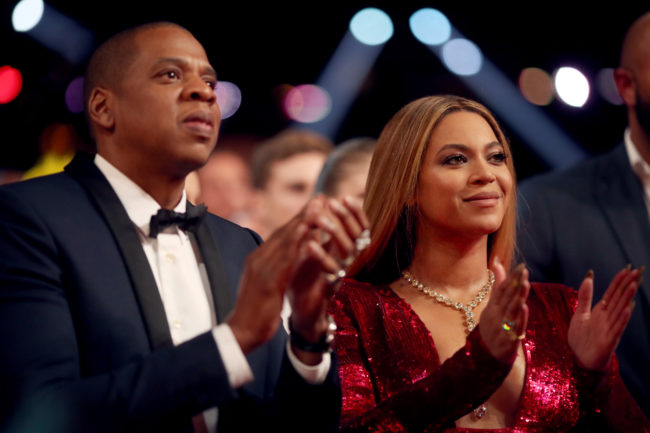 Beyonce and Jay-Z attend The 59th GRAMMY Awards.