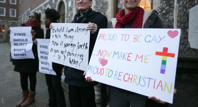 Protesters support same-sex marriage in 2017—the issue has long been dividing the Anglican Church, with the Archbishop of Canterbury refusing to invite gay bishops' partners to the Lambeth 2020 conference. (DANIEL LEAL-OLIVAS/AFP/Getty Images)