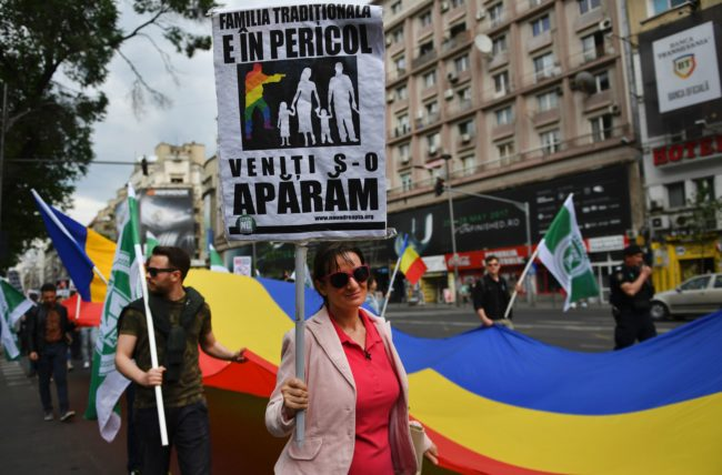 A demonstration against same-sex marriage in Romania, one of the anti-LGBT causes supported by American religious conservative groups.