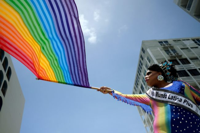 People take part in the annual Gay Pride parade in San Juan, Puerto Rico, on June 3, 2018.