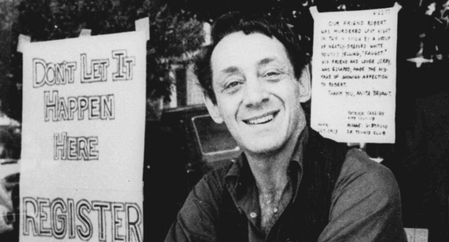 San Francisco supervisor Harvey Milk, a pioneering gay activist who was assassinated in 1978.