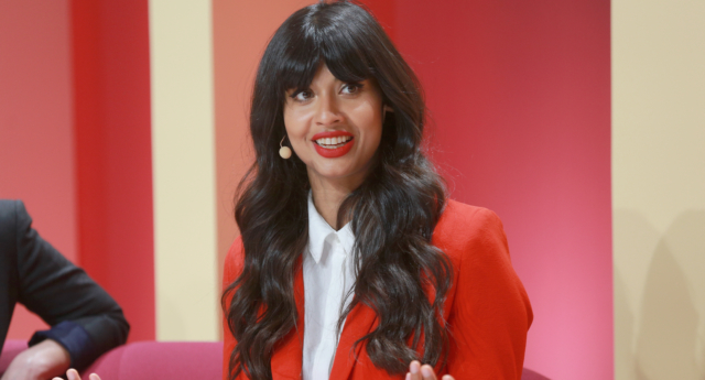 Jameela Jamil speaks on stage at the 2018 Girlboss Rally at Magic Box on April 28, 2018 in Los Angeles, California.