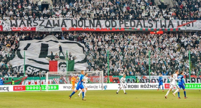 The banner displayed by Legia Warsaw fans at its Polish Army stadium (Fare Network)
