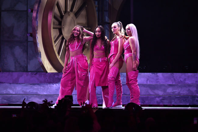 Jade Thirlwall, Leigh-Anne Pinnock, Perrie Edwards and Jesy Nelson of Little Mix perform on stage during The BRIT Awards 2019 held at The O2 Arena on February 20, 2019 in London, England