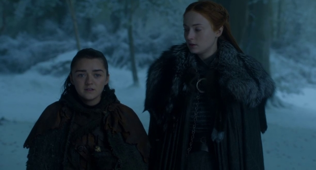 Game of Thrones stars Maisie Williams and Sophie Turner as sisters Arya Stark and Sansa Stark