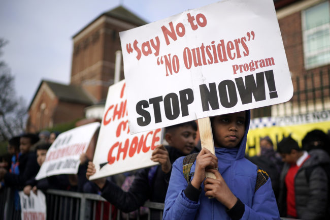 Protestors outside of Parkfield School, Birmingham