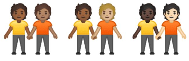 Gender neutral couple emojis which will come to phones alongside interracial same-sex couple emojis.