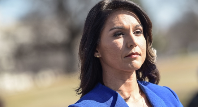 Democrat Congresswoman Tulsi Gabbard from Hawaii, an official candidate for the Democratic Primaries of the 2020 US Presidential election, gives a press conference in Washington DC on February 15, 2019. (ERIC BARADAT/AFP/Getty)