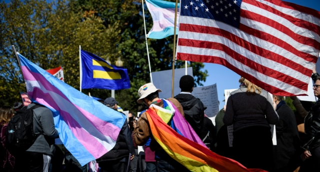 Activists for the LGBTQ community rally during a protest of the Trump administration October 22, 2018 in Washington, DC (BRENDAN SMIALOWSKI/AFP/Getty)