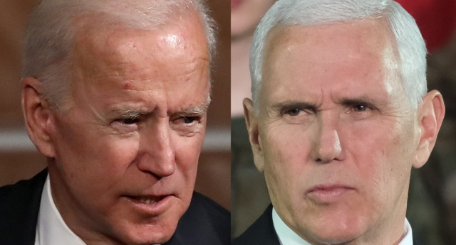 "Joe Biden has responded to criticism over his comment that Mike Pence is ""a decent guy."" (Win McNamee/Getty and Sean Gallup/Getty)"