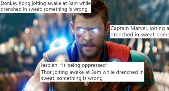 Thor is one of many fictional characters praised by the meme's users. (Marvel and Twitter)