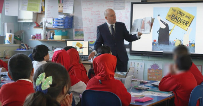 Andrew Moffat teaching LGBT-inclusive lessons at a Birmingham school