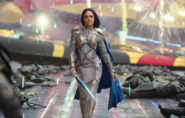 Bisexual Marvel character Valkyrie walks towards the camera in Thor: Ragnarok.