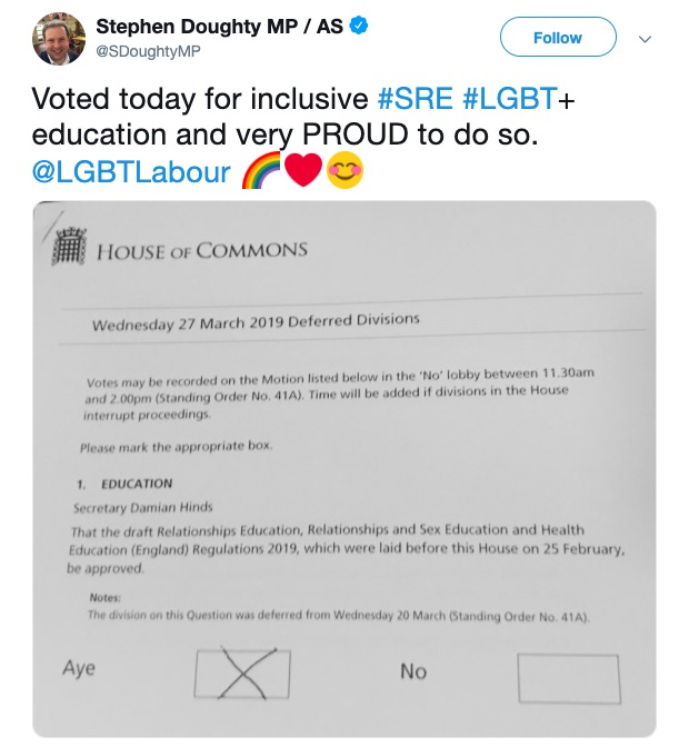 Labour MP Stephen Doughty votes for LGBT-inclusive RSE education.