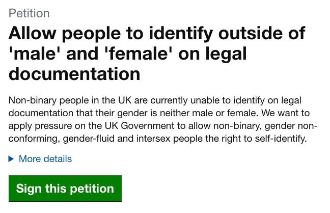 A screenshot of the petition demanding the recognition of a non-binary option on legal documents.