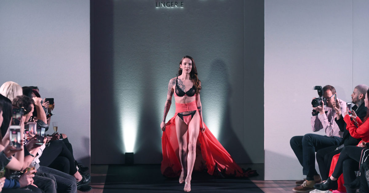 Carmen Liu opened the fashion show of the transgender lingerie collection she designed. (Stuart C. Wilson/Getty)
