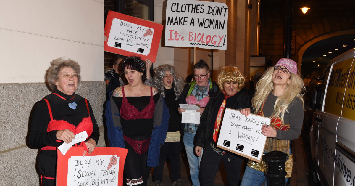 The group of about eight protesters outside the transgender lingerie show was led by Julia Long. (Stuart C. Wilson/Getty)