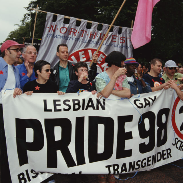 An anti-Section 28 demonstration at the LGBT Pride event in 1998 London. (Steve Eason/Hulton Archive/Getty Images)