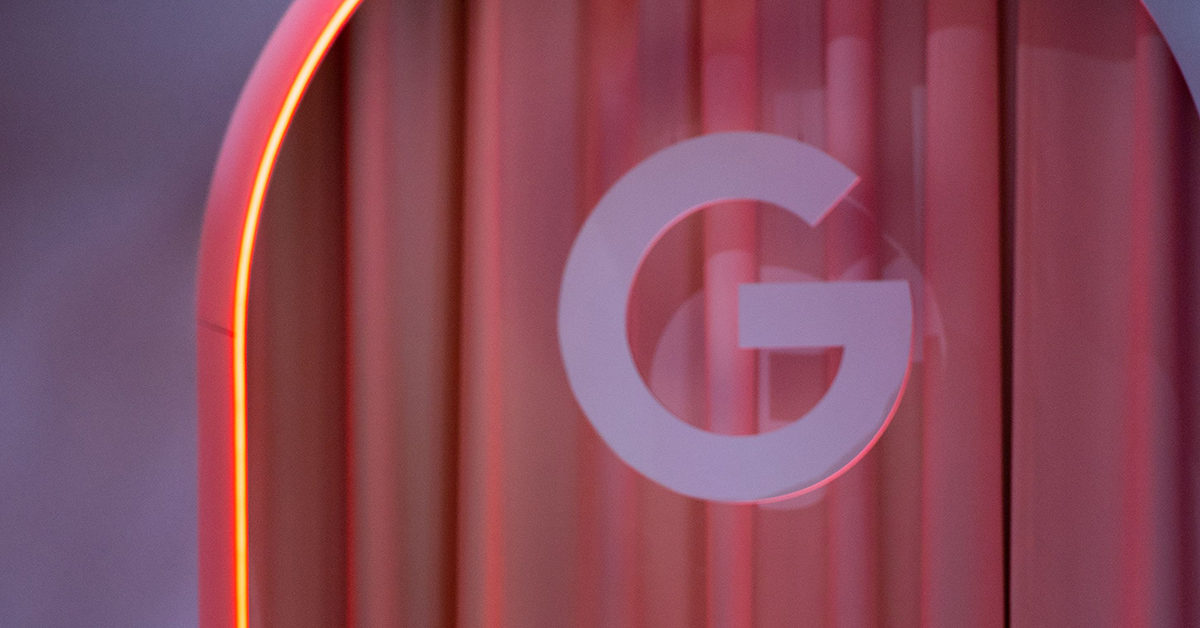 A Google insignia at the Game Developers Conference keynote in San Francisco (Josh Edelson / AFP/Getty)