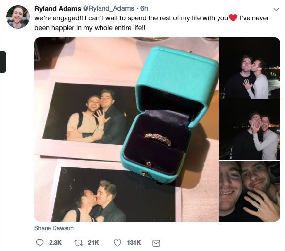Ryland Adams posted photos of Shane Dawson's proposal.