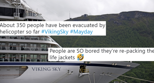 The Viking Sky lost all power over the weekend, and one person kept her followers fully updated. (RUNE STOLTZ BERTINUSSEN/AFP/Getty)