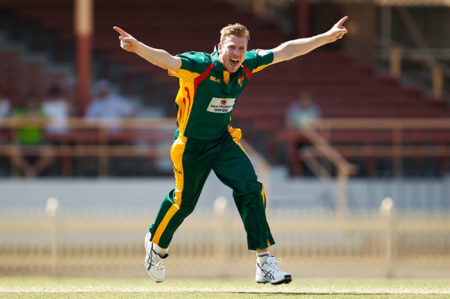 James Faulkner of Tasmania celebrates after claiming the wicket of Nathan Reardon of Qld during the Matador BBQs One Day Cup match between Queensland and Tasmania at North Sydney Oval on October 5, 2015 in Sydney, Australia.