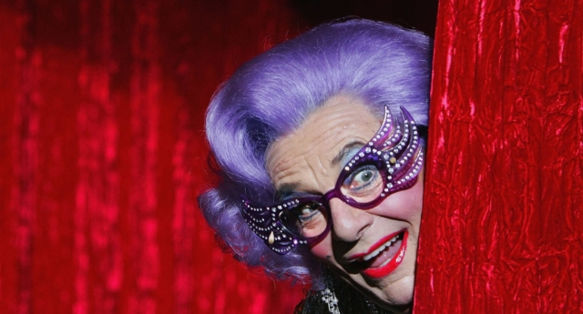 Barry Humphries, who plays Dame Edna Everage, has made anti-trans comments on many occasions. (Lisa Maree Williams/Getty)