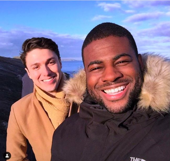 LGBT Correspondent Ben Hunte posing with his partner.