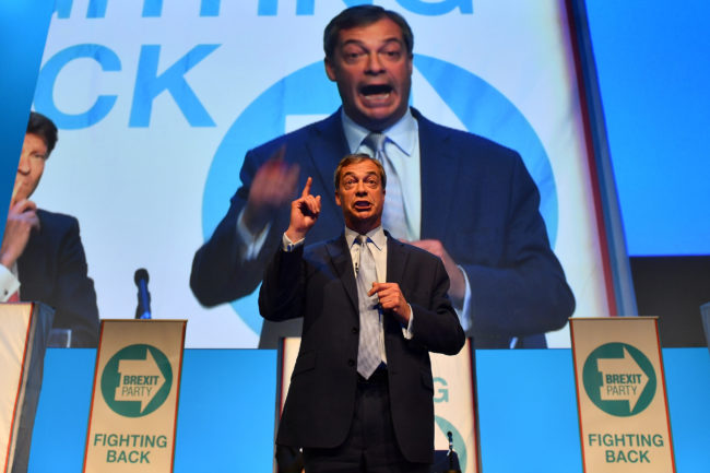 British politician and The Brexit Party leader, Nigel Farage addresses the first public rally of their European Parliament election campaign in Birmingham, central England on April 13, 2019.