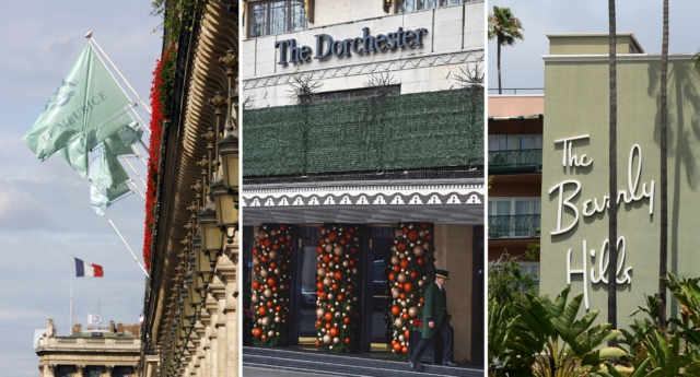 Five of the nine Dorchester Collection hotels owned by Brunei: (top L-R) Hotel Meurice in Paris, The Dorchester in London, The Beverly Hills Hotel in Los Angeles, (bottom L-R) The Hotel Plaza Athenee in Paris and The Hotel Bel-Air in Los Angeles. (Getty)