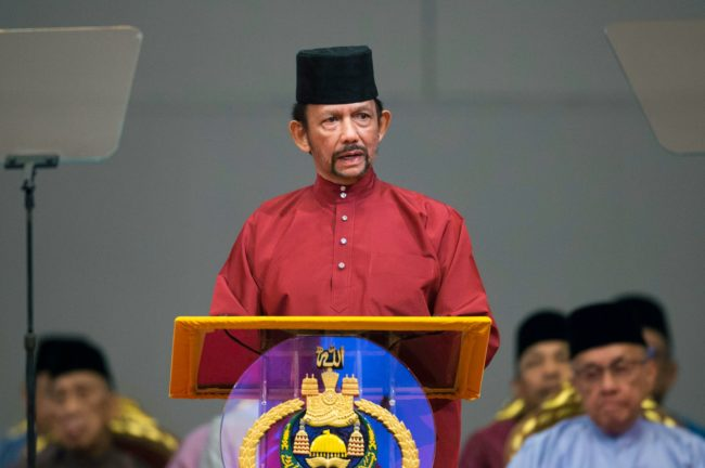 Brunei's Sultan Hassanal Bolkiah delivers a speech during an event in Bandar Seri Begawan on April 3, 2