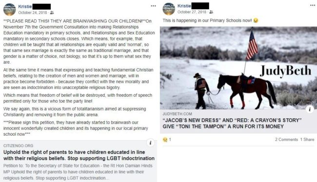 The Facebook posts about LGBT 'brainwashing' got Krissie Higgs suspended (Christian Concern)