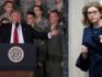 L - US President Donald Trump speaks to Air Force personnel during an event September 15, 2017 at Joint Base Andrews in Maryland. R - UK equalities minister Penny Mordaunt (Alex Wong/Getty)
