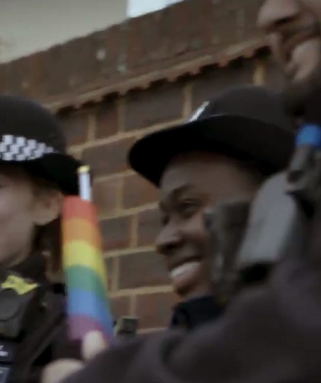 Police officers from London's Metropolitan Police at the Brunei protest in Ealing