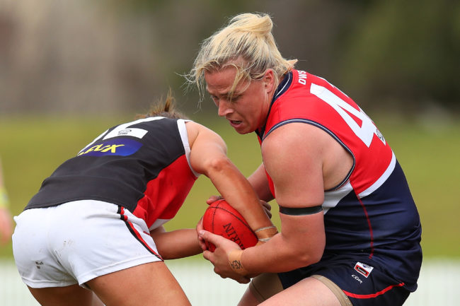Hannah Mouncey of Darebin (R) in action during the round 14 VFLW match between Darebin and the Southern Saints at Bill Lawry Oval on August 11, 2018 in Melbourne, Australia.