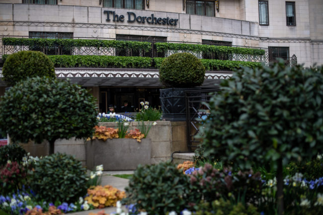 The front entrance is seen at The Dorchester, owned by the Sultan of Brunei, on April 3, 2019 in London, England.
