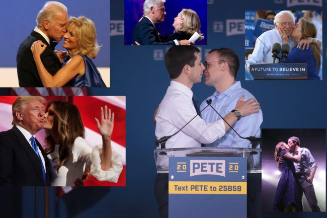 Hillary Clinton, Joe Biden, Bernie Sanders, Donald Trump, Beto O'Rourke and Pete Buttigieg kiss their spouses.