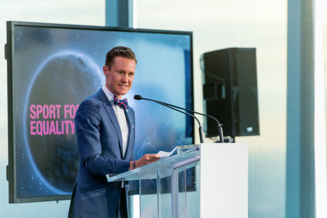 Chris Mosier presents the Sport for Equality Award during the Beyond Sport Global Awards on July 26, 2017 in New York City.