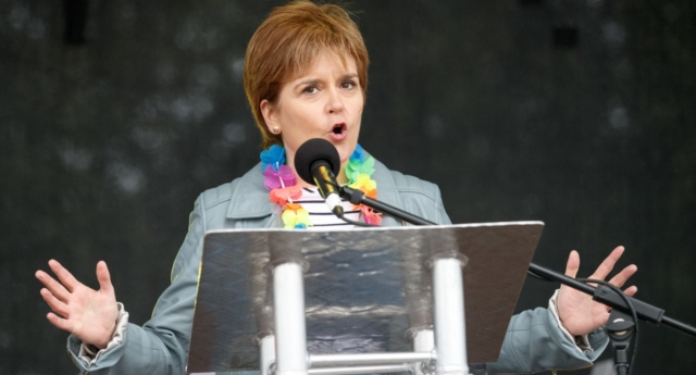 First Minister Nicola Sturgeon addresses the crowd at Glasgow Pride (Robert Perry/Getty)
