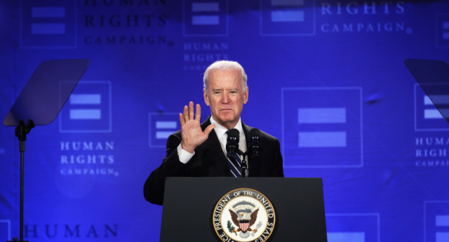 US Vice President Joseph Biden addresses the Spring Equality Convention of Human Rights Campaign (HRC) March 6, 2015 in Washington, DC. (Alex Wong/Getty)
