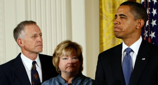 Matthew Shepard's parents Dennis Shepard and Judy Shepard with President Barack Obama in 2009 (Win McNamee/Getty)