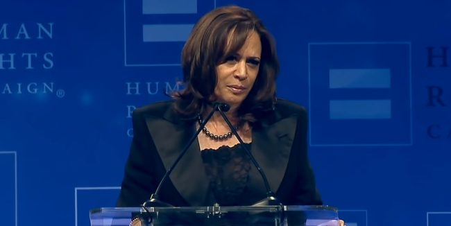 Kamala Harris speaks to the Human Rights Campaign