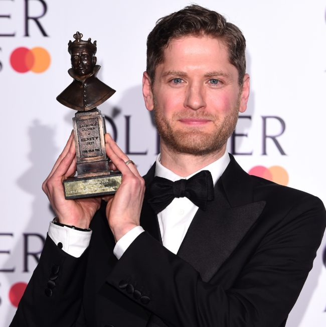 Kyle Soller with the award for Best Actor during The Olivier Awards with Mastercard at the Royal Albert Hall on April 07, 2019 in London, England