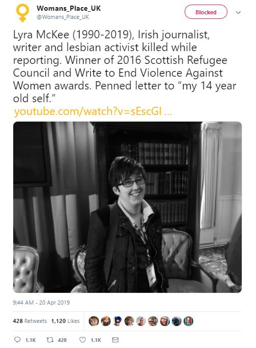 Anti-trans group Woman's Place UK had tweeted a Lyra McKee tribute
