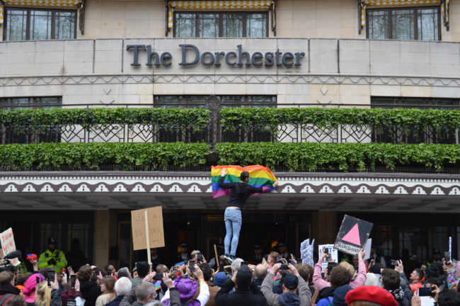 Protest outside The Dorchester hotel in London