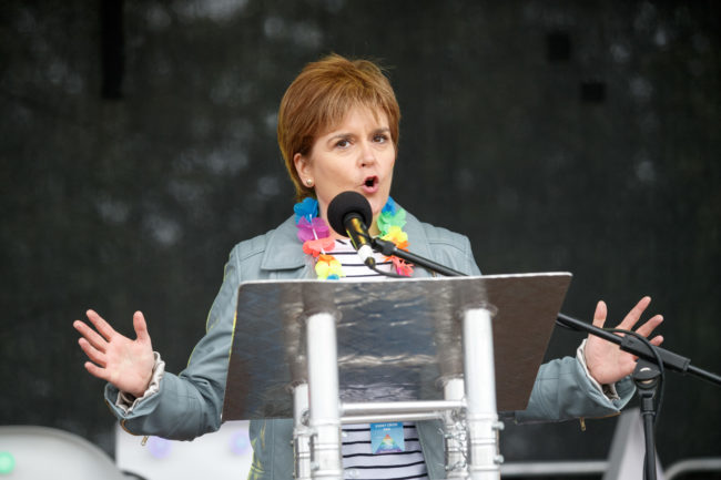 SNP leader and Scottish First Minister Nicola Sturgeon addresses the assembled crowd at Glasgow Pride on August 19, 2017 in Glasgow, Scotland.