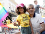 Mayor of London Sadiq Khan with a young flag bearer during the Pride In London parade on July 7, 2018 in London, England. (Tristan Fewings/Getty)