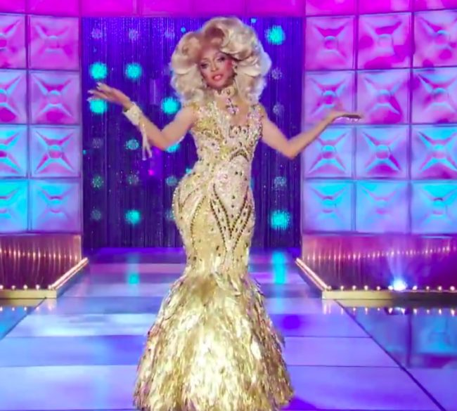RuPaul's Drag Race queen A'keria glitters all over the stage.