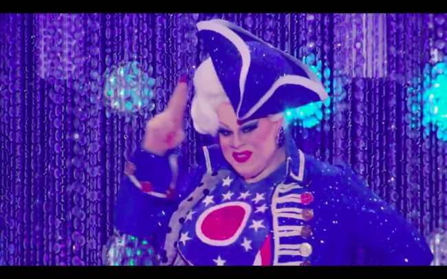 Drag Race's Nina West camps up the runway.