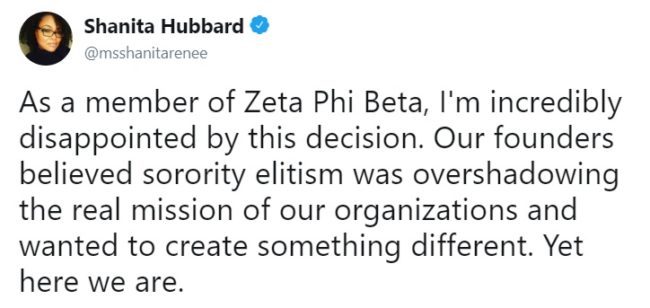 Shanita Hubbard said she was 'disappointed' with the policy. (Twitter/@msshanitarenee)